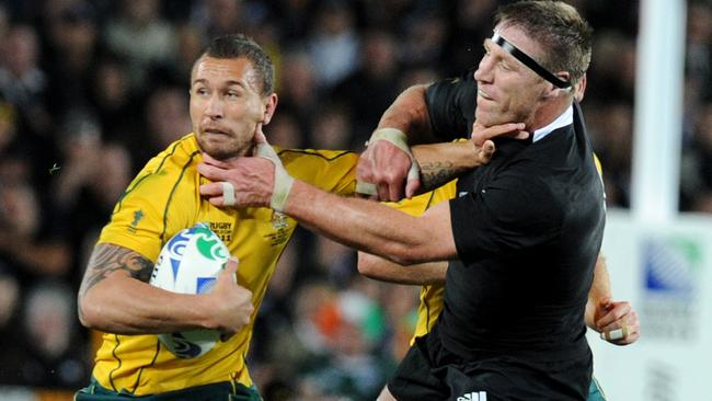 Quade Cooper and Brad Thorn at each other's throats at the 2011 World Cup.