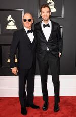Michael Keaton and Sean Douglas attend The 59th GRAMMY Awards at STAPLES Center on February 12, 2017 in Los Angeles, California. Picture: Getty