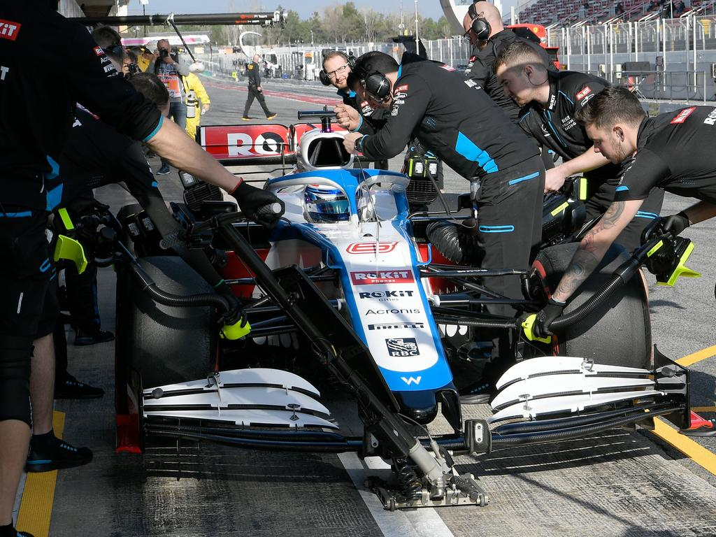 Williams' Canadian driver Nicholas Latifi stops in the pitlane as he takes part in the tests for the new Formula One Grand Prix season at the Circuit de Catalunya in Montmelo in the outskirts of Barcelona on February 19, 2020. (Photo by LLUIS GENE / AFP) (Photo by LLUIS GENE/AFP via Getty Images)
