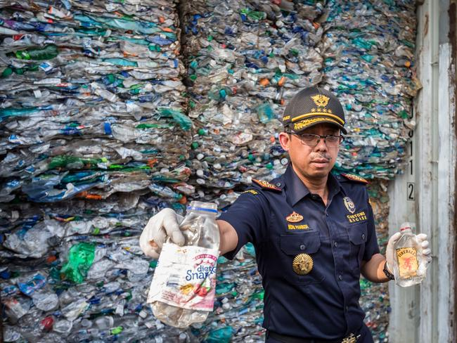 In September, Indonesia sent back waste sent by Australia that contained 'illegal' rubbish among recyclable items. Picture: Graham Crouch