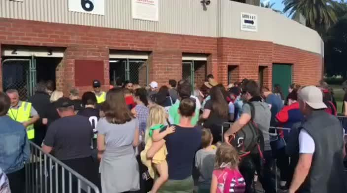Crowds stream in for AFLW match