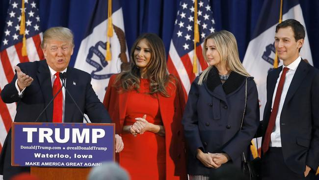 Trump campaigns alongside his wife, Melania, his daughter Ivanka, and Ivanka's husband Jared.
