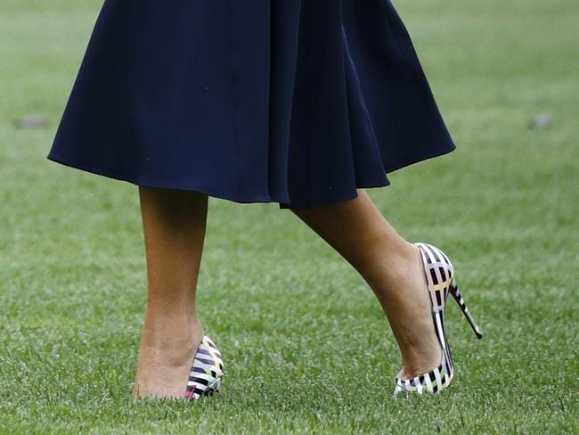First lady Melania Trump even wears high heels when she crosses the South Lawn of the White House. Picture: AP