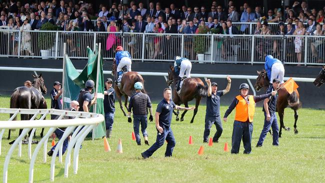 Officials steering the horses away at the end of the race, after The Cliffsofmoher suffered a fall. Picture: Alex Coppel