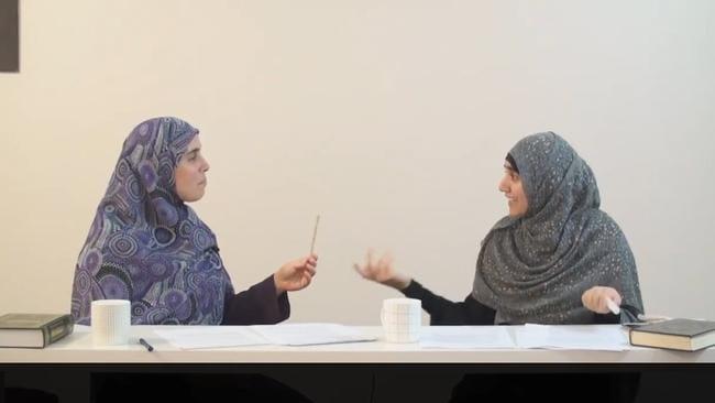 Reem Allouche (left) and Atika Latifi speak at a Hizb ut-Tahrir conference