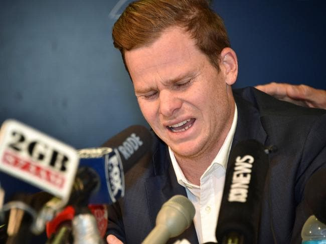 Steve Smith delivered the most emotional press conference of the year. AFP PHOTO / Peter PARKS