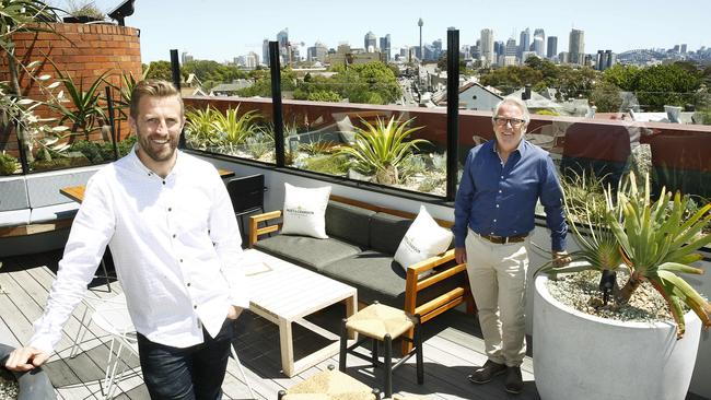 Kaine Bayfield and Marc Bayfield admire the view at the Light Brigade Hotel in Woollahra. Picture: John Appleyard