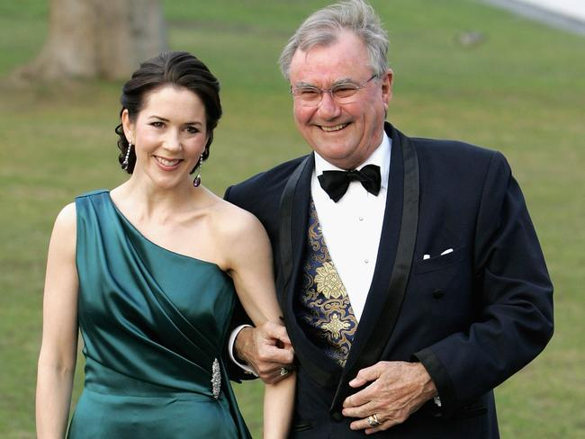 With his Australian-born daughter-in-law, Princess Mary, in 2006. Picture: Chris Jackson/Getty Images