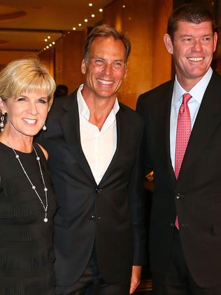 Guests ... Julie Bishop, her partner David Panton and James Packer arrive at Crown Casino for New Year's Eve. Picture: Getty