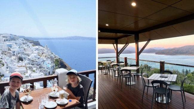 LEFT: Oia, Santorini. RIGHT: One Tree Hill, Hamilton Island. Image: Supplied.