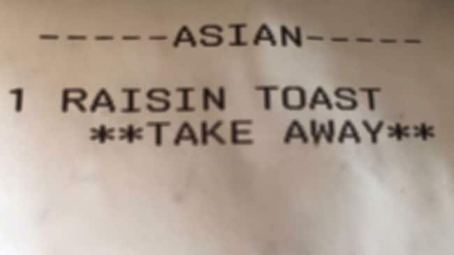 The receipt Katherine accidently received from the Surry Hills cafe. Image: Supplied