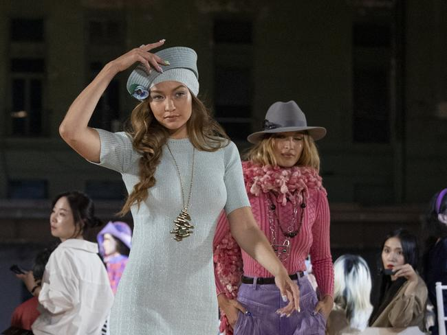 Model Gigi Hadid models the Marc Jacobs collection during Fashion Week, Wednesday, Sept. 11, 2019, in New York. (AP Photo/Mary Altaffer)