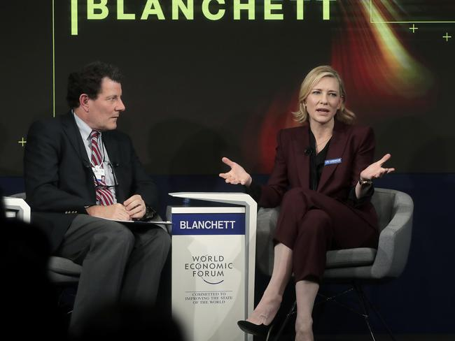 Cate Blanchett, appeared as part of a conversation about refugees in Davos, Switzerland. Picture: AP/Markus Schreiber
