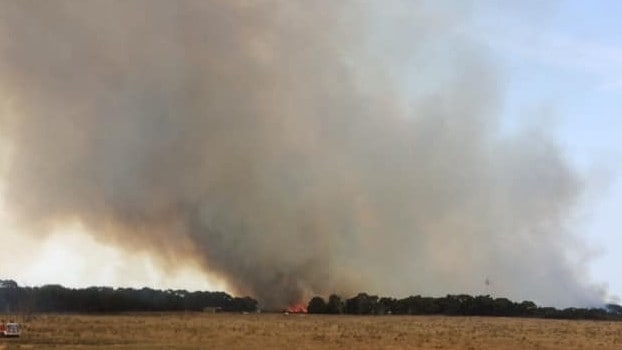 Thick smoke from an out-of-control bushfire on French Island. Picture: Supplied