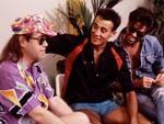 June 28 1986. Elton John backstage with Andrew Ridgeley and George Michael of Wham! at their 'The Final Concert', Wembley Stadium, London. Picture: Getty
