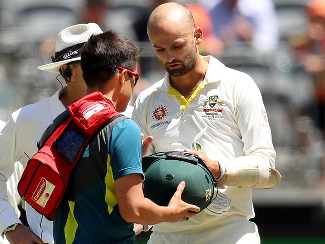 Nathan Lyon was struck in the head.