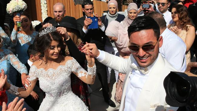 Salim Mehajer and Aysha Learmonth on their wedding day. Picture: Toby Zerna
