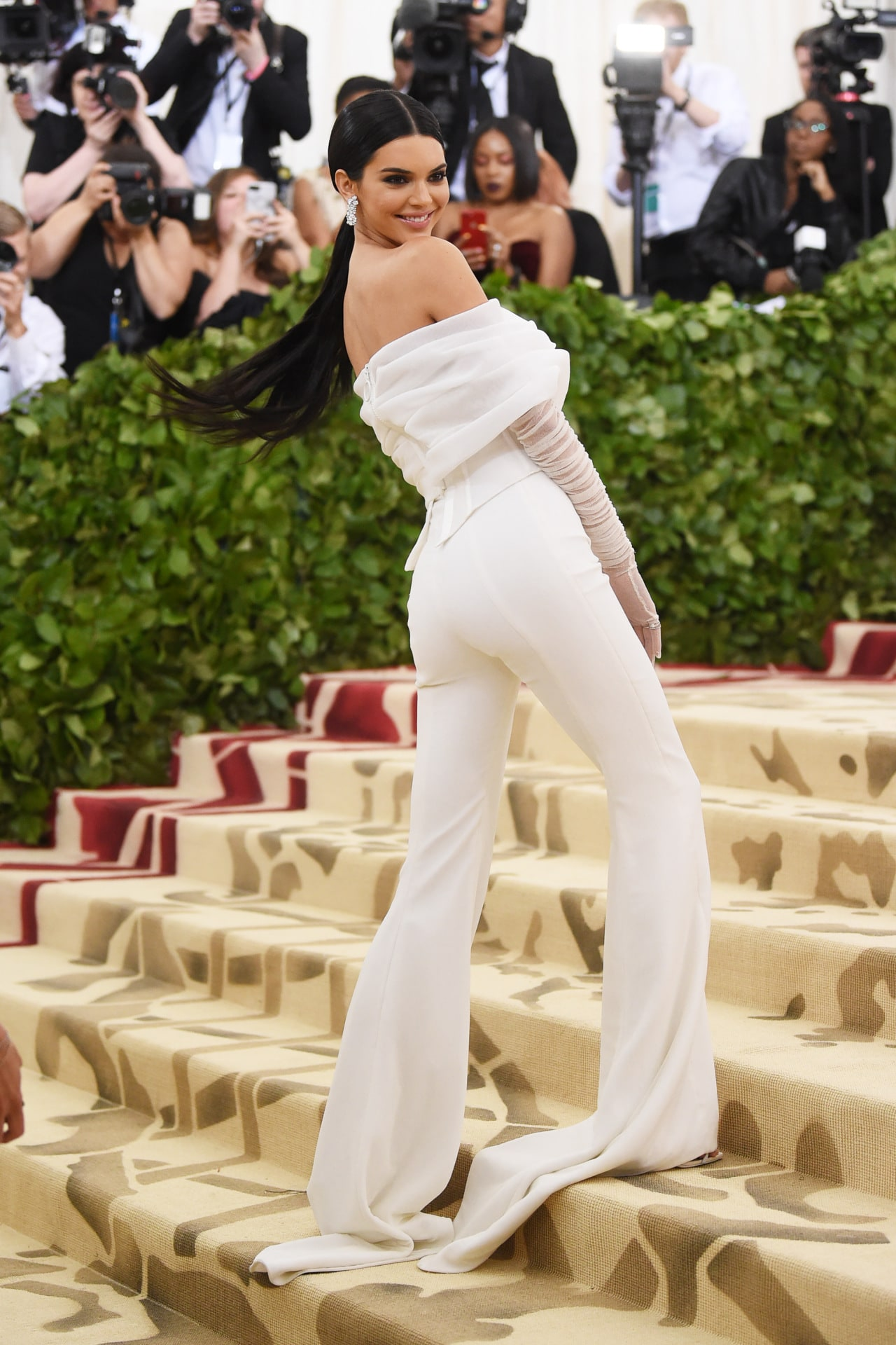 Kendall Jenner in Off-White at the 2018 Met Gala. Image credit: Getty Images