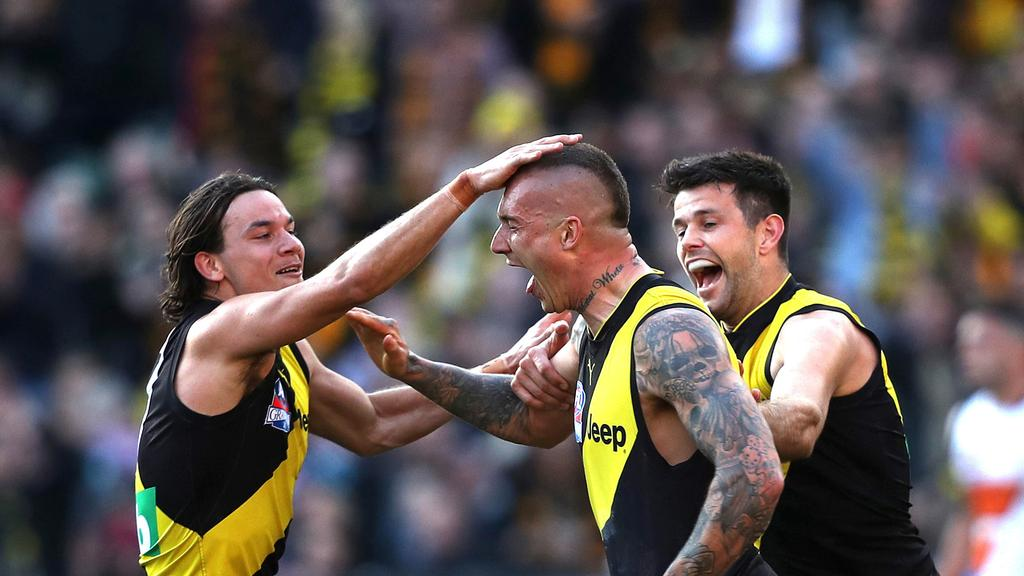 Richmond players celebrate during their 2019 Grand Final win. Picture: Phil Hillyard