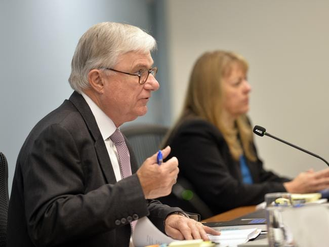 Justice Peter McClellan and Commissioner Helen Milroy at the Royal Commission into Institutional Responses to Child Sexual Abuse. Picture: Jeremy Piper/ Supplied