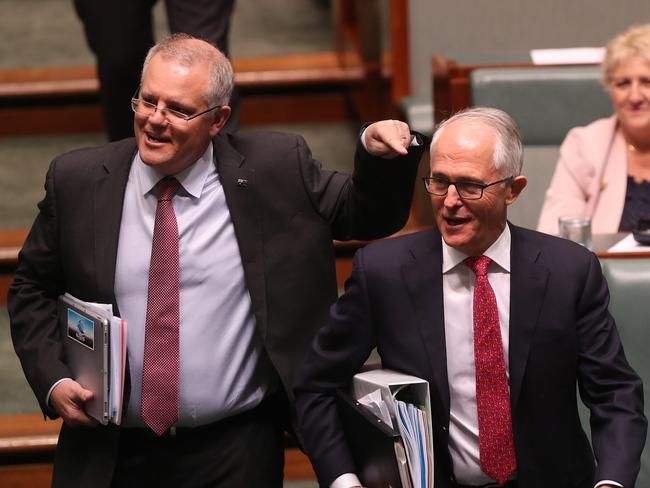 Scott Morrison points at Malcolm Turnbull in the lower house yesterday. Picture: Kym Smith