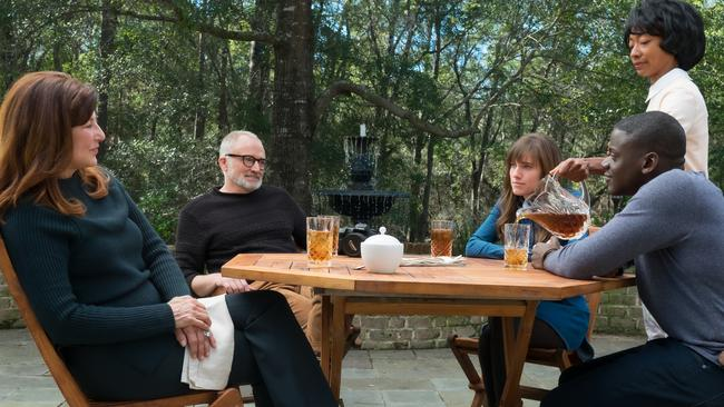 Missy (played by Catherine Keener), Dean (Bradley Whitford), Rose (Allison Williams), Georgina (Betty Gabriel) and Chris (Daniel Kaluuya) in a scene from film Get Out