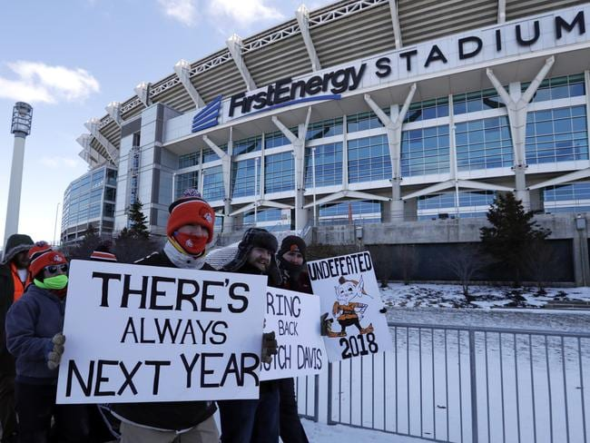 "Cleveland Browns fans participate in the ""Perfect Season"" parade."