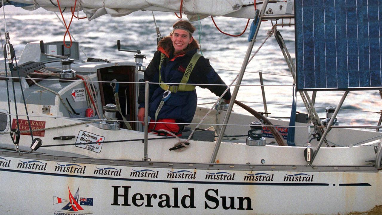Teenage sailor Jesse Martin on October 31, 1999 as he sailed back into Port Phillip Bay, Melbourne, Victoria. Picture: Mark Smith