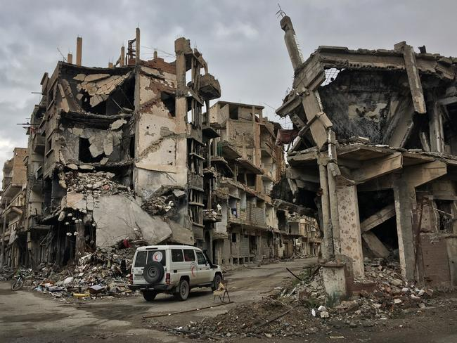 The destroyed streets of Deir ez Zor in Syria. Picture: Ella Pellegrini