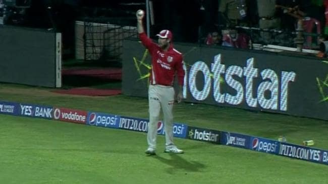 Glenn Maxwell claimed the catch one hand, one bounce off the roof.