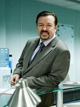 Ricky Gervais on the David Brent film set.