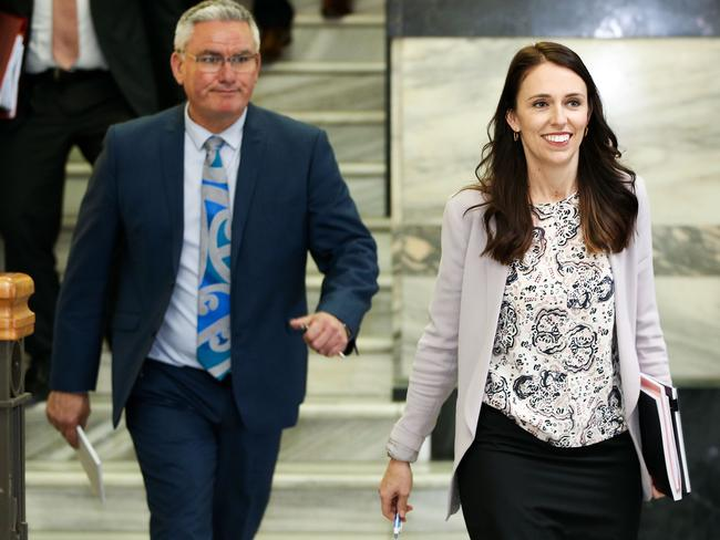 Ardern and deputy Kelvin Davis make their way to a meeting with NZ First leader Winston Peters at Parliament on October 8. Picture: Hagen Hopkins/Getty Images