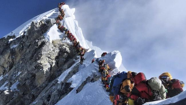 Eleven climbers have died while trying to summit Mount Everest this season. Picture: Nimsdai Project Possible via AP