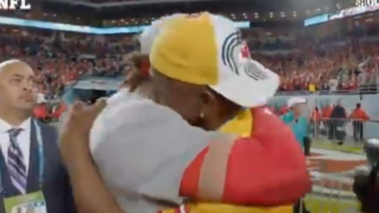 Patrick Mahomes hugs his father in a special moment.
