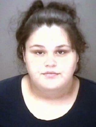 Mother Sarah Hardin, 25, was arrested and charged with felony child abuse. Picture: Robeson County Sheriff's Office