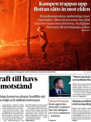 The crisis has also made front page news in Sweden. Picture: Supplied