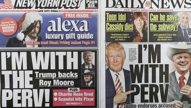 The New York Post and Daily News had a similar take on Donald Trump supporting Roy Moore. Picture New York Post, Daily News