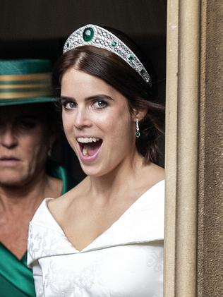 Princess Eugenie in the diamond and emerald tiara that's said to have caused a royal fuss. Picture: Steve Parsons – WPA Pool/Getty Images.