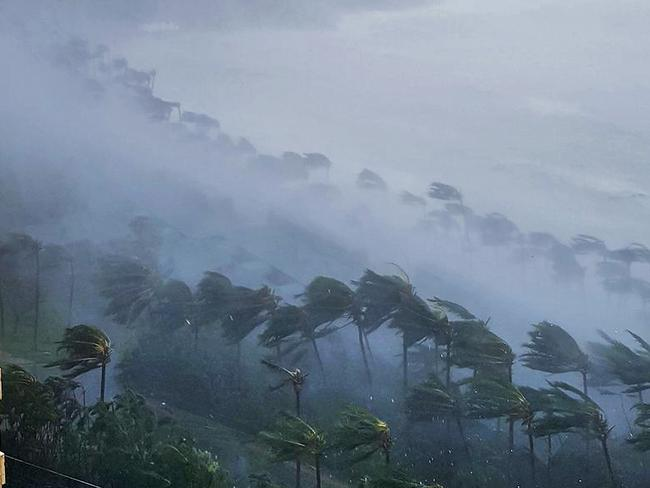 Catseye beach, Hamilton Island has borne the brunt of the storm. Picture: Revell Norquay/Twitter