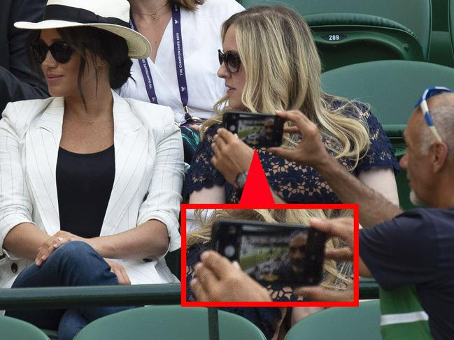 The Duchess of Sussex watches Serena Williams. Photo credit: Express Syndication/MEGA TheMegaAgency.com.