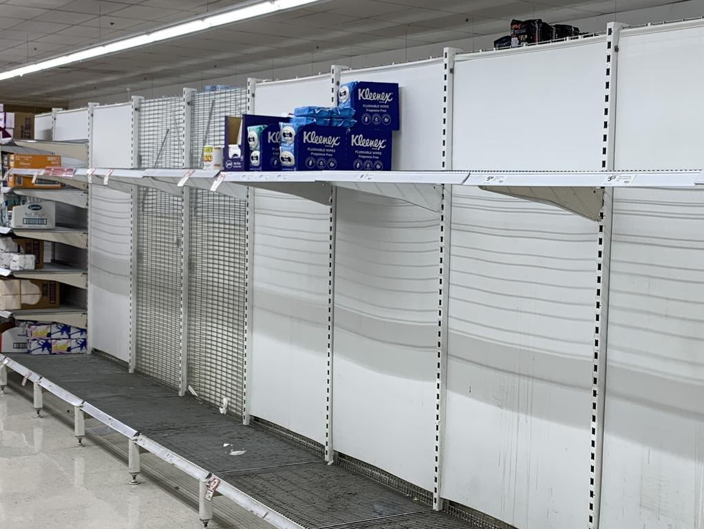 Supermarket stores have been stripped of toilet paper, with only wipes available. Picture: MATT LOXTON