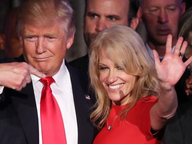 Donald Trump along with his 2016 campaign manager Kellyanne Conway. Picture: Getty
