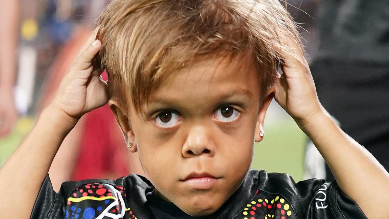 Quaden Bayles, (9), poses for a photograph during the NRL Indigenous All-Stars vs Maori Kiwis match at CBus Super Stadium on the Gold Coast. Picture: Dave Hunt/AAP