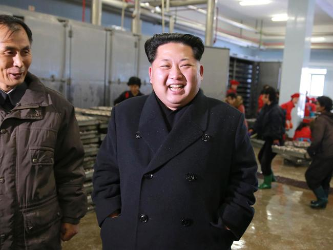 North Korean leader Kim Jong-un stopped by a fishery station in August. Picture: KCNA via AFP.
