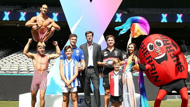 Gillon McLachlan at last year's over-the-top AFLX launch. Picture: Getty Images