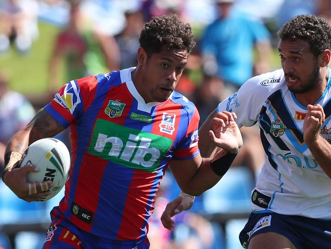 Dane Gagai of the Knights is into some space.