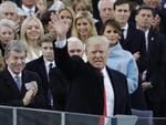 President Donald Trump waves after delivering his inaugural address after being sworn in as the 45th president of the United States during the 58th Presidential Inauguration at the U.S. Capitol in Washington on January 20, 2017. Picture: AP