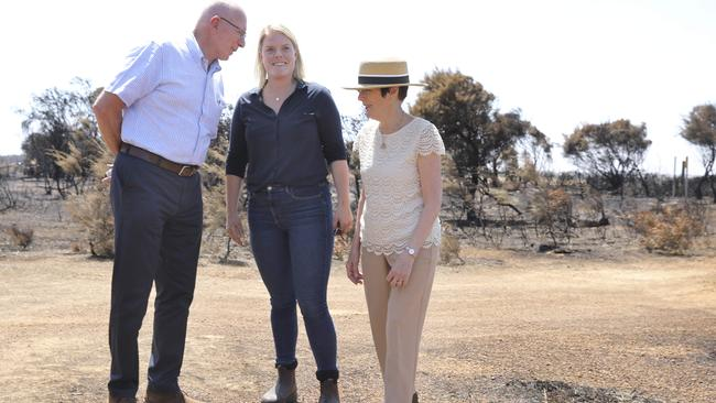 Governor-General David Hurley and his wife Linda meet Kangaroo Island local Stephanie Wurst, who lost her home in the fires. Picture: Dean Martin