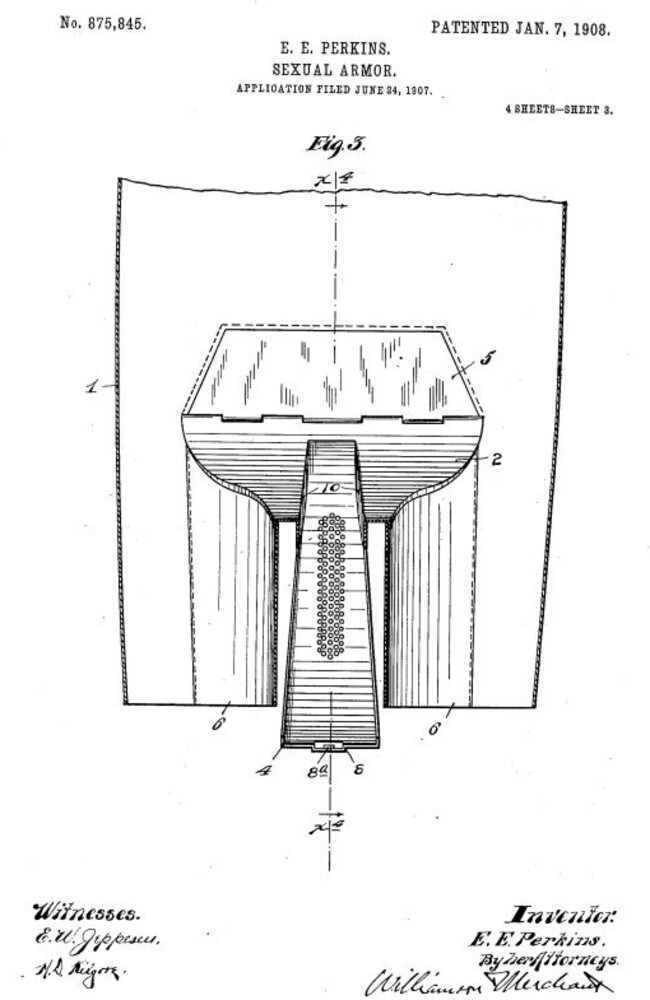It's unclear whether this 1908 contraption was intended to be worn underneath clothing while in public. Picture: USPTO