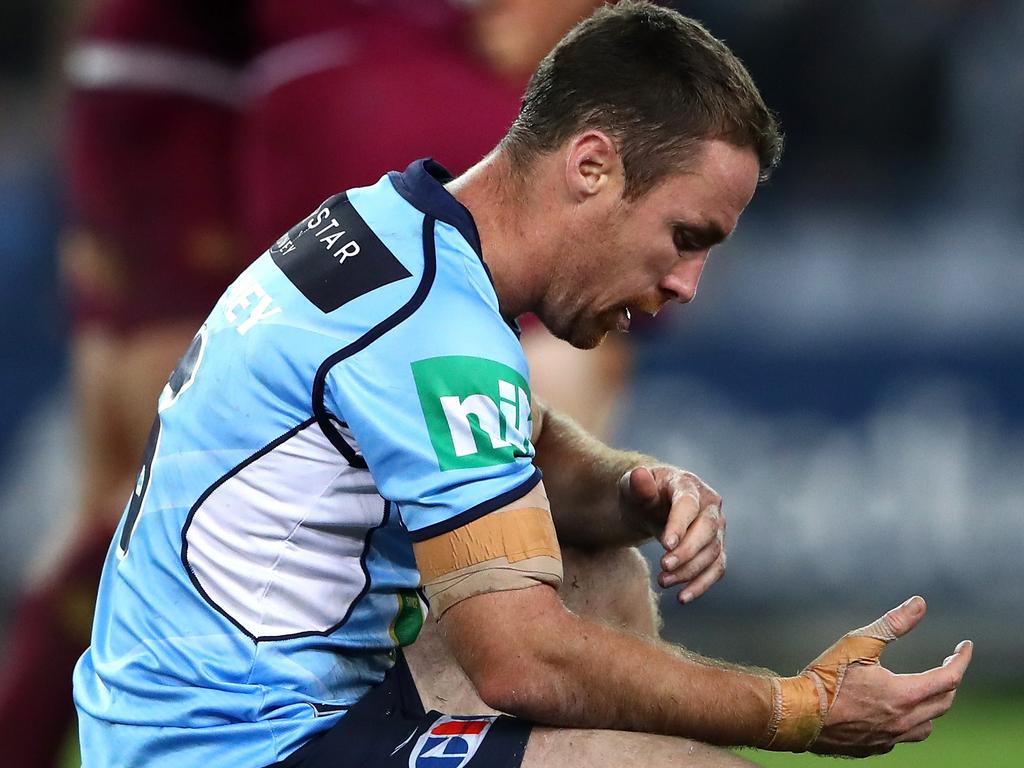 James Maloney of the Blues looks dejected after losing game two of the State Of Origin series.